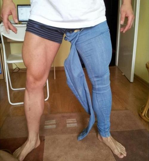 bodybuilders trying to wear skinny jeans