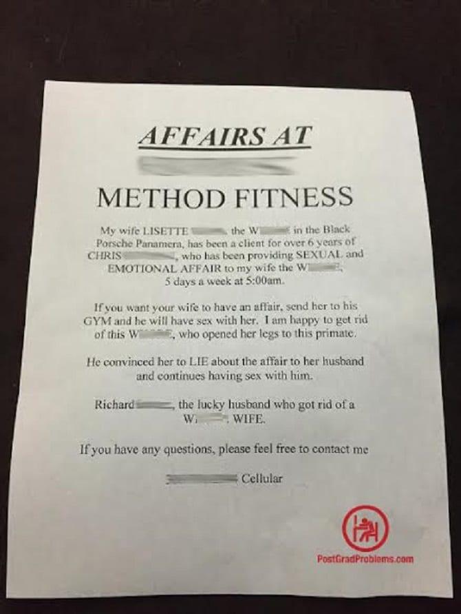affair at a gym