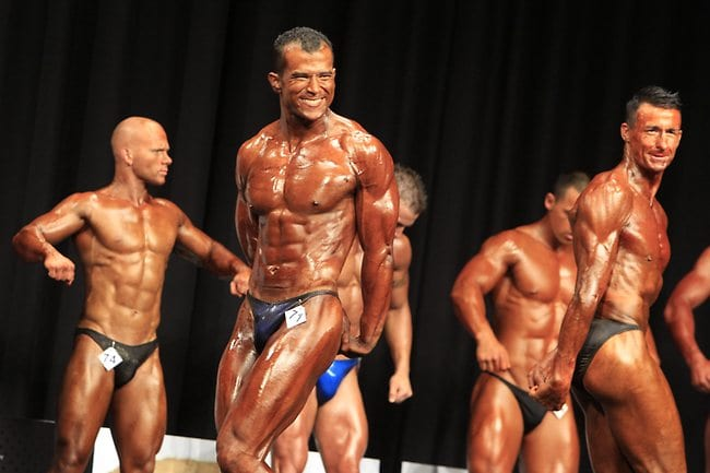 bodybuilders on stage posing