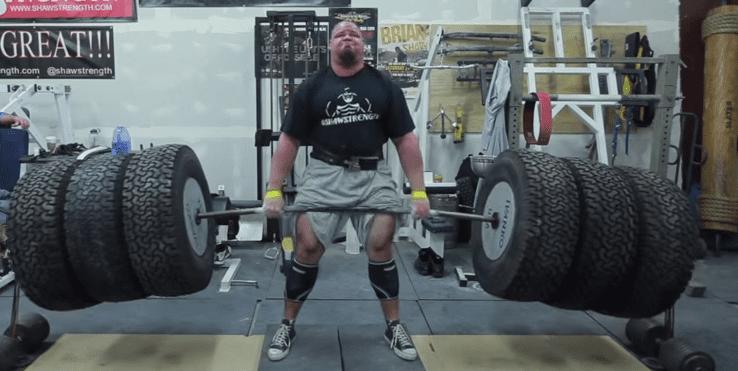 brian shaw deadlifting world record tires