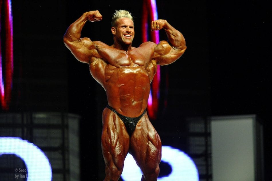 Jay Cutler on stage at the finals for the 2009 Mr. Olympia