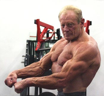 old man with muscle bodybuilder