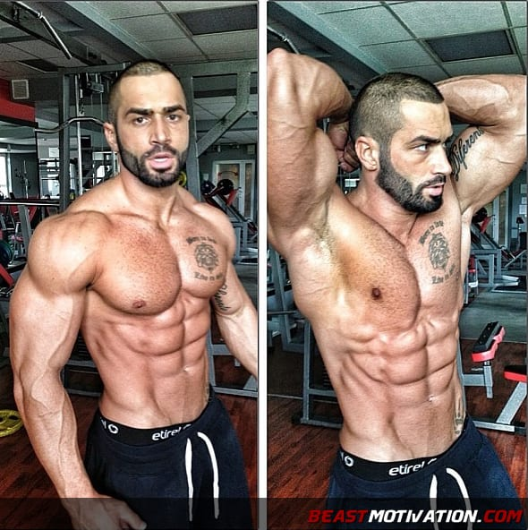 bodybuilder fitness guy showing abs
