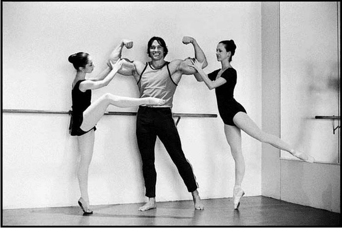 vintage photo of arnold with ballet girls