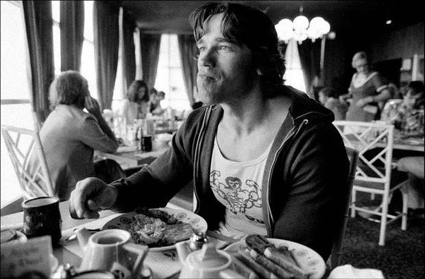 vintage photo of arnold eating