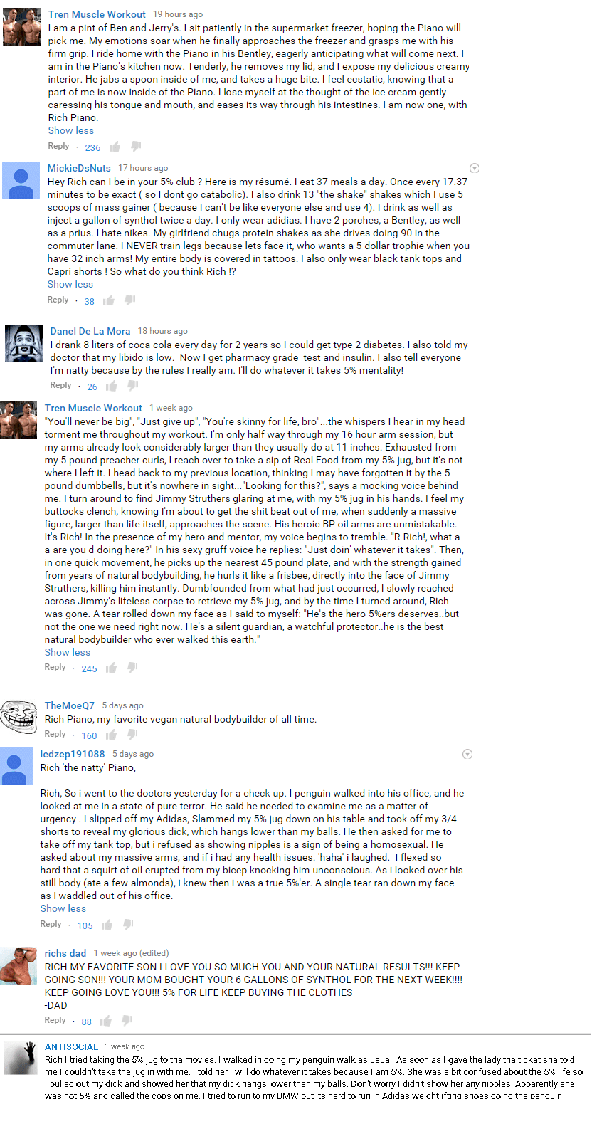Rich Piana Has Been Trolled Hard In The YouTube Comment Section