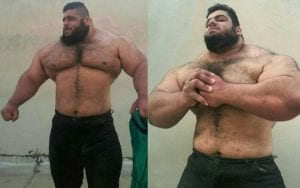 """""""The Persian Hercules"""" is a powerlifter who weighs 385lbs and has no neck!"""
