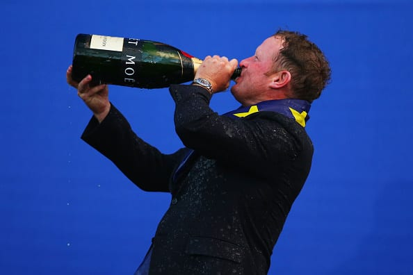 AUCHTERARDER, SCOTLAND - SEPTEMBER 28: Jamie Donaldson of Europe drinks champagne after Europe won the Ryder Cup after the Singles Matches of the 2014 Ryder Cup on the PGA Centenary course at the Gleneagles Hotel on September 28, 2014 in Auchterarder, Scotland. (Photo by Mike Ehrmann/Getty Images)