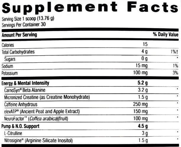 Lit Pre Workout Ingredients