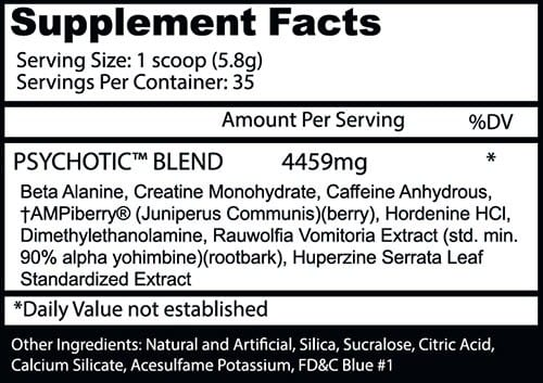 Psychotic Pre Workout Ingredients