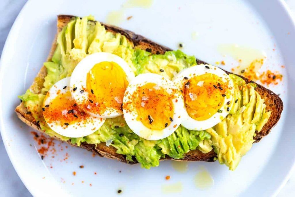 boiled eggs with avocado toast