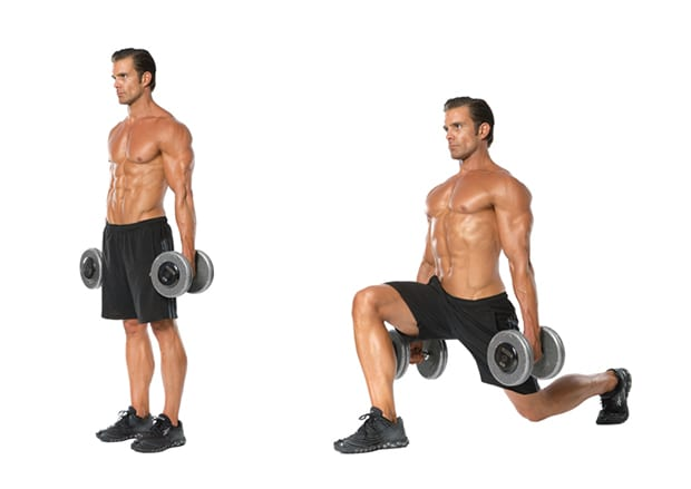 dumbbell leg workout with walking lunges