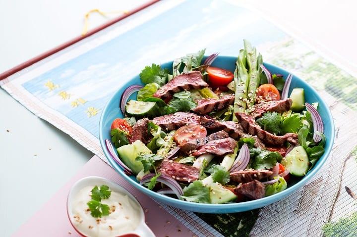 beef ceaser salad is another breakfast idea for bodybuilders