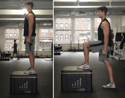 dumbbell leg workout with a box