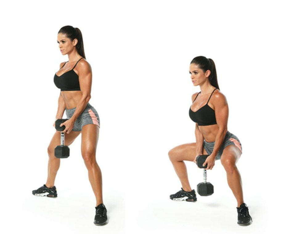 dumbbell sumo squat for dumbbell leg workout