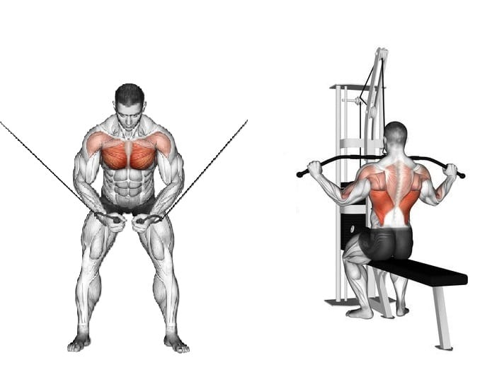 cable crossover and lat pulldown